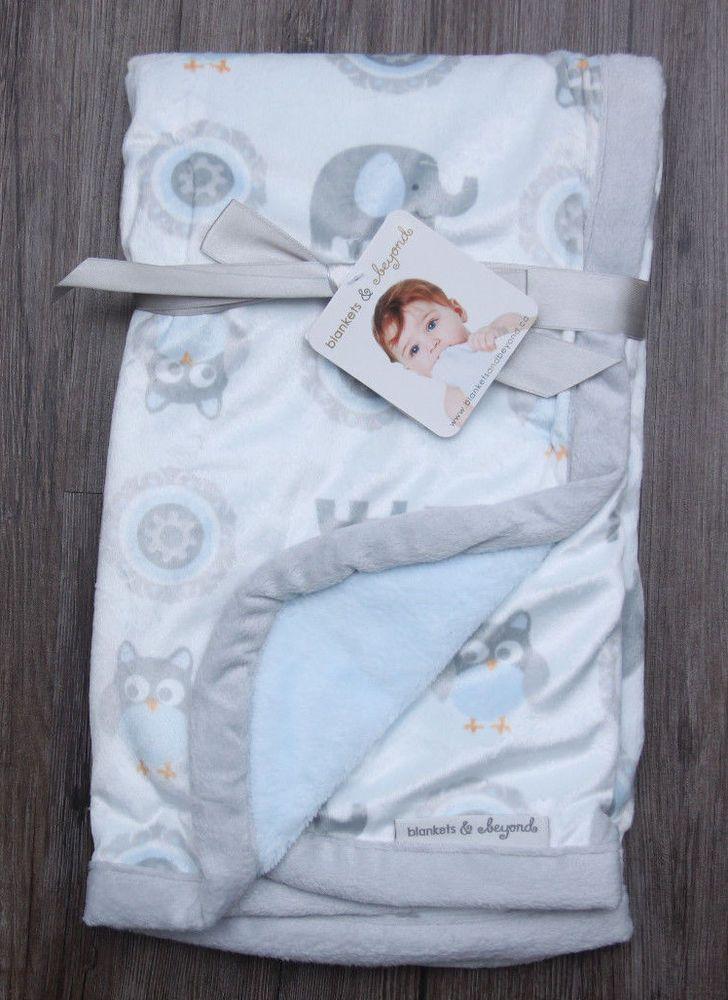 Blankets Beyond Soft Baby Blanket Elephants Owls Gray Blue