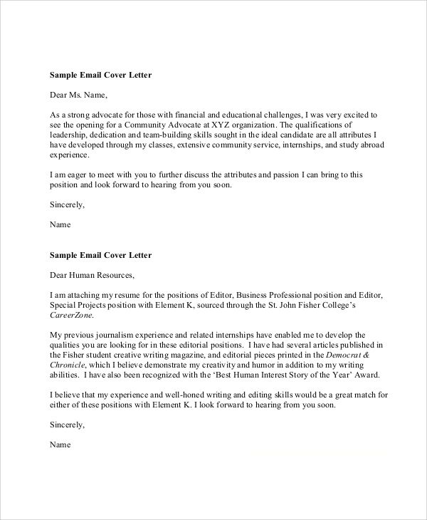 sample resume cover letter format examples word pdf attach your - Cover Letter Format Email