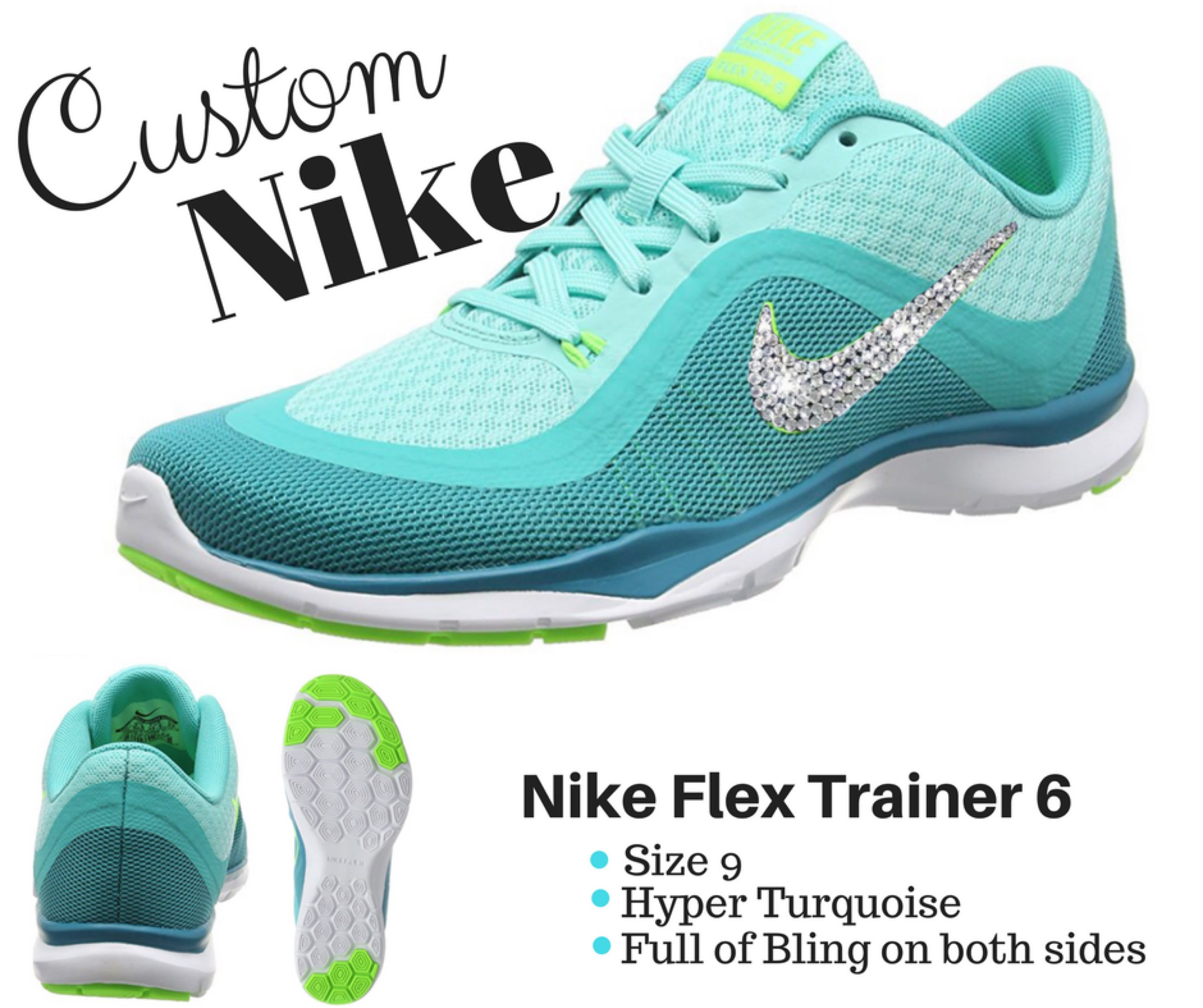 Christmas Gift - Nike Flex Trainer 6 - Bling Nike - Running Shoes ... fc40f6c7c