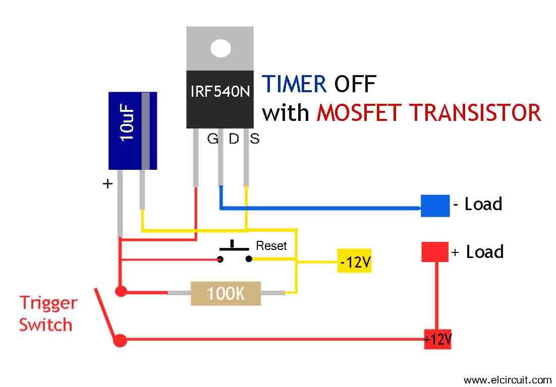 Simple Mosfet Switch Circuit With Delay Timer Circuit Diagram Centre ...