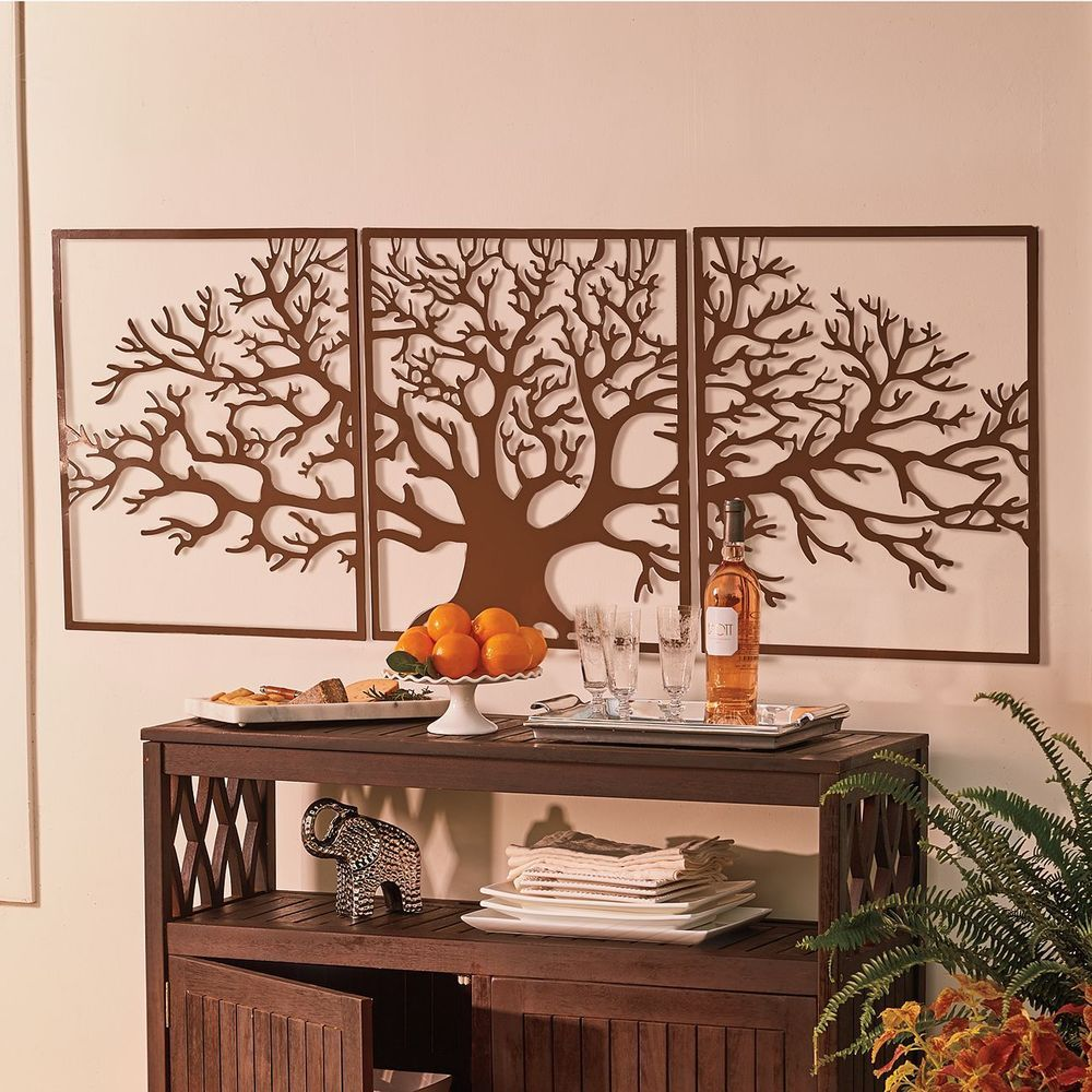 large tree of life metal wall art framed 3 pc set picture on large wall art id=30136