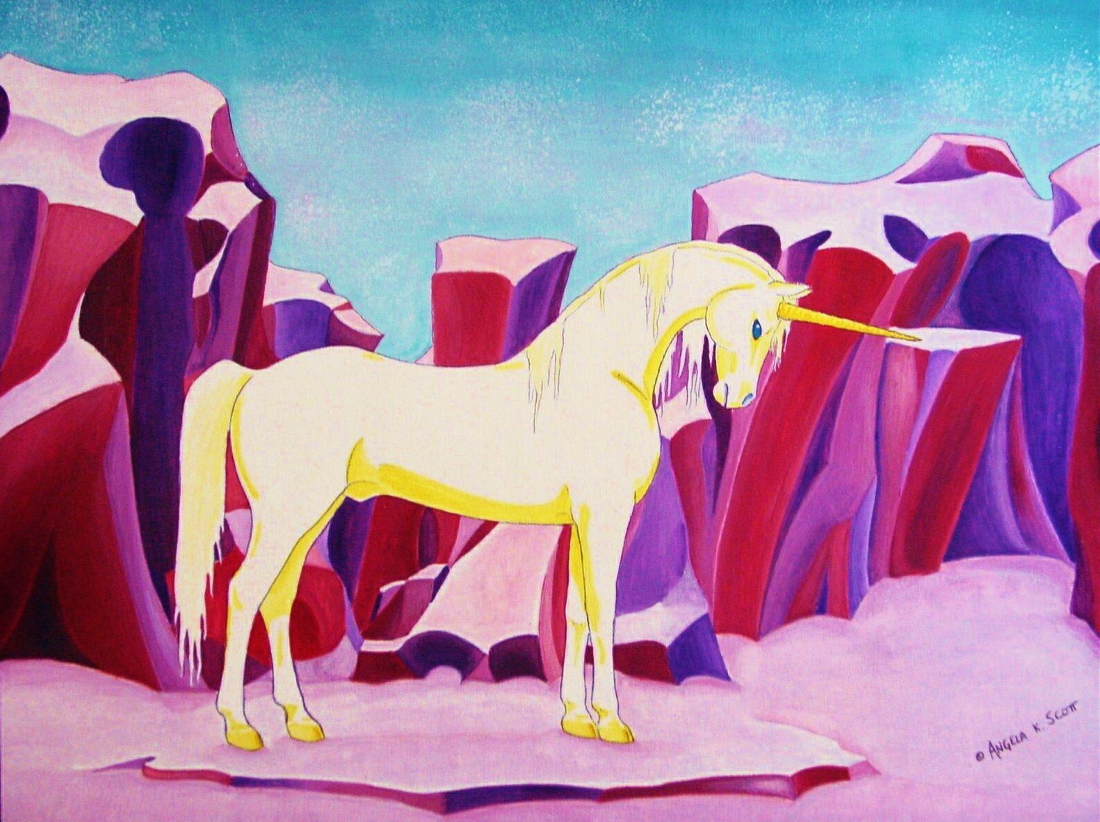 """Unicornus"" by Angela K. Scott  ~ Painting, Watercolors. I Love Unicorns!  ----Artwork, Art, Realism, Realistic, Animal, Horned Horse, Unicorn, Equine, Fantasy, Colorful, Rock Formations, Steed, Magic, Magical, Myth, Mythical, Mythological Creature, New Age, Mystic, Graceful, Beauty, Noble, Medieval, Fantasy, Poised, Pose, Believe, Belief, Enchanted, Imaginative, Landscape."