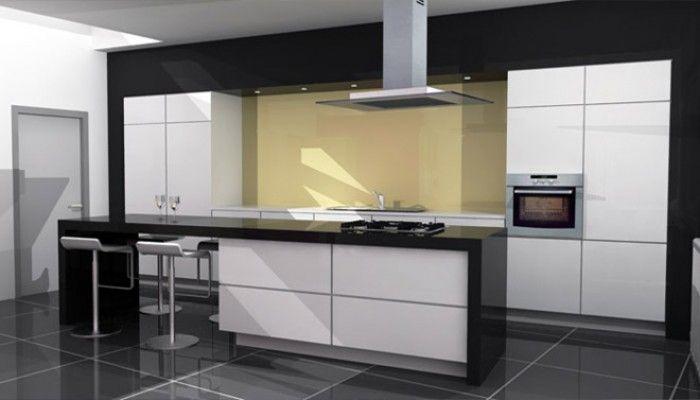 Zwart wit keuken met kookeiland en zitgedeelte kichen set
