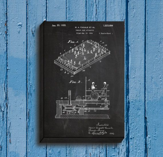 CANVAS - Foosball Table Patent, Foosball Table Poster, Foosball - copy plane blueprint wall art