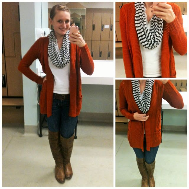 Work Lately, burnt orange cardigan, orange sweater, striped scarf ...
