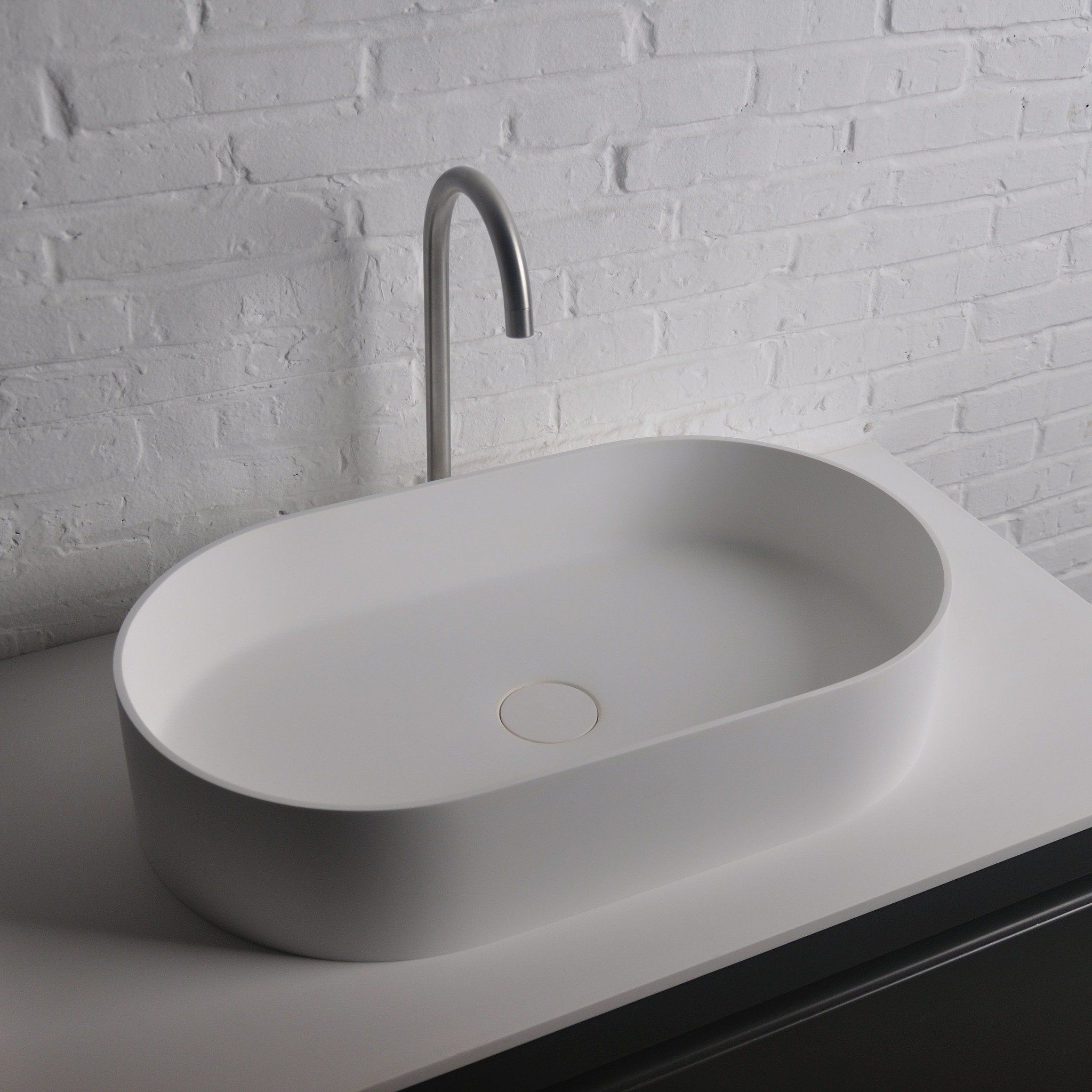 Solidthin Elongated 15 In Washbasin Vessel Sink Bowl Above