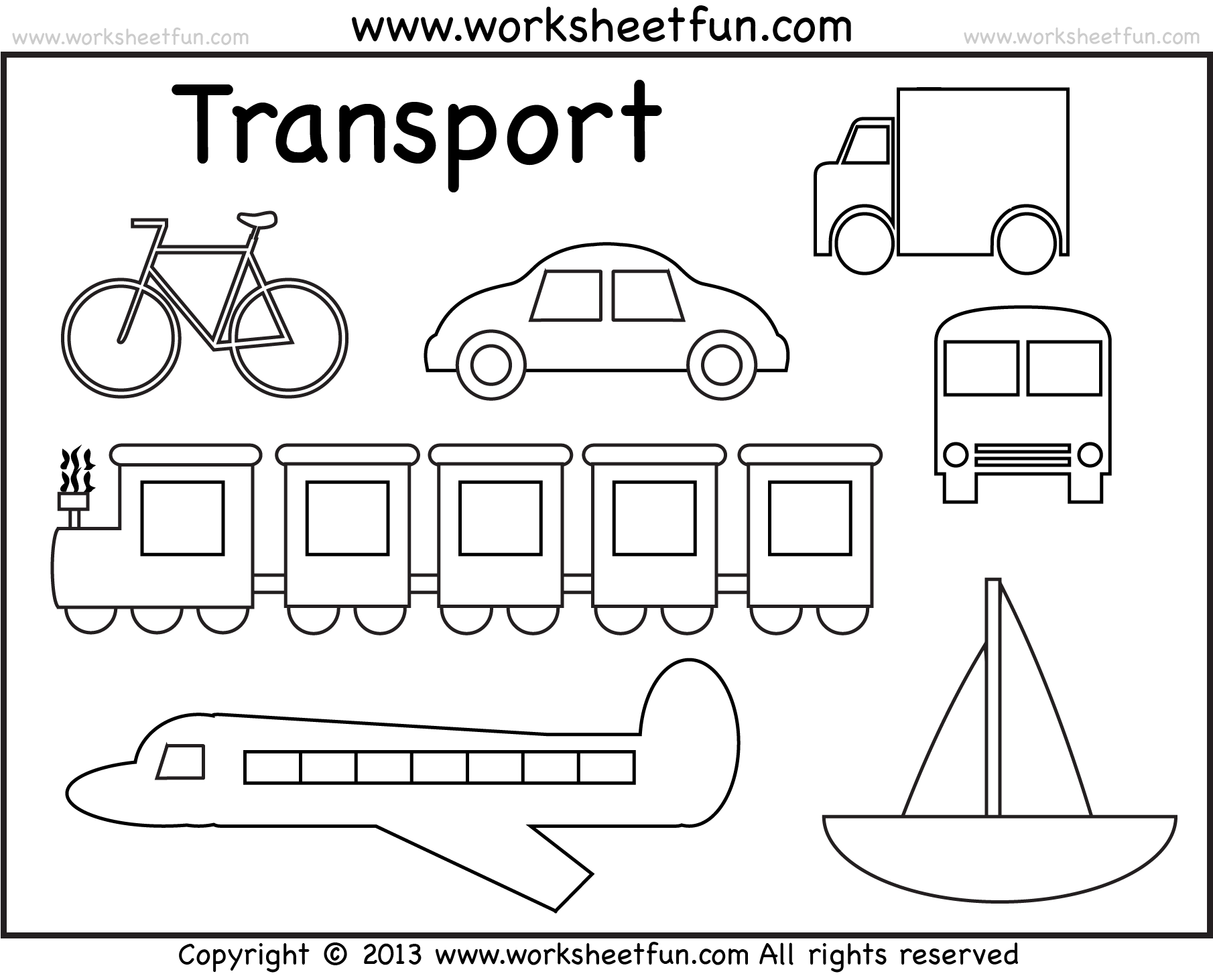 Modes Of Transportation Coloring Sheet