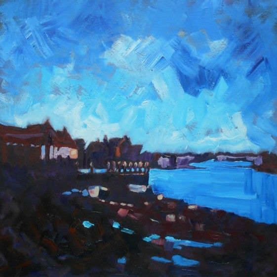 Burnham Overy Staithe. Towards Evening (Framed) by Mary Kemp #harbour #painting