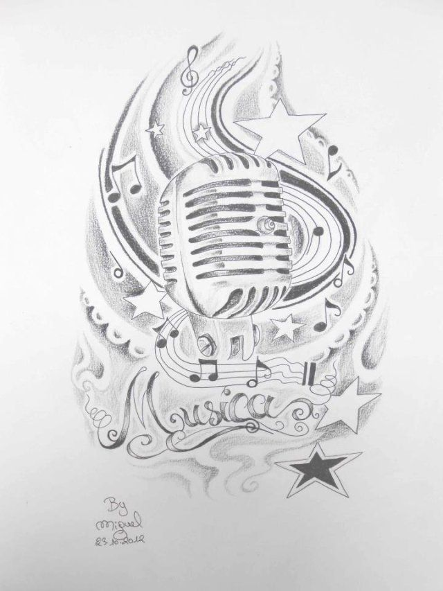 Old Style Microphone Tattoo Art With Ancient Micro And Small Stars For Tattoo By Miguel San Roma Music Tattoos Music Tattoo Sleeves Inspirational Tattoos