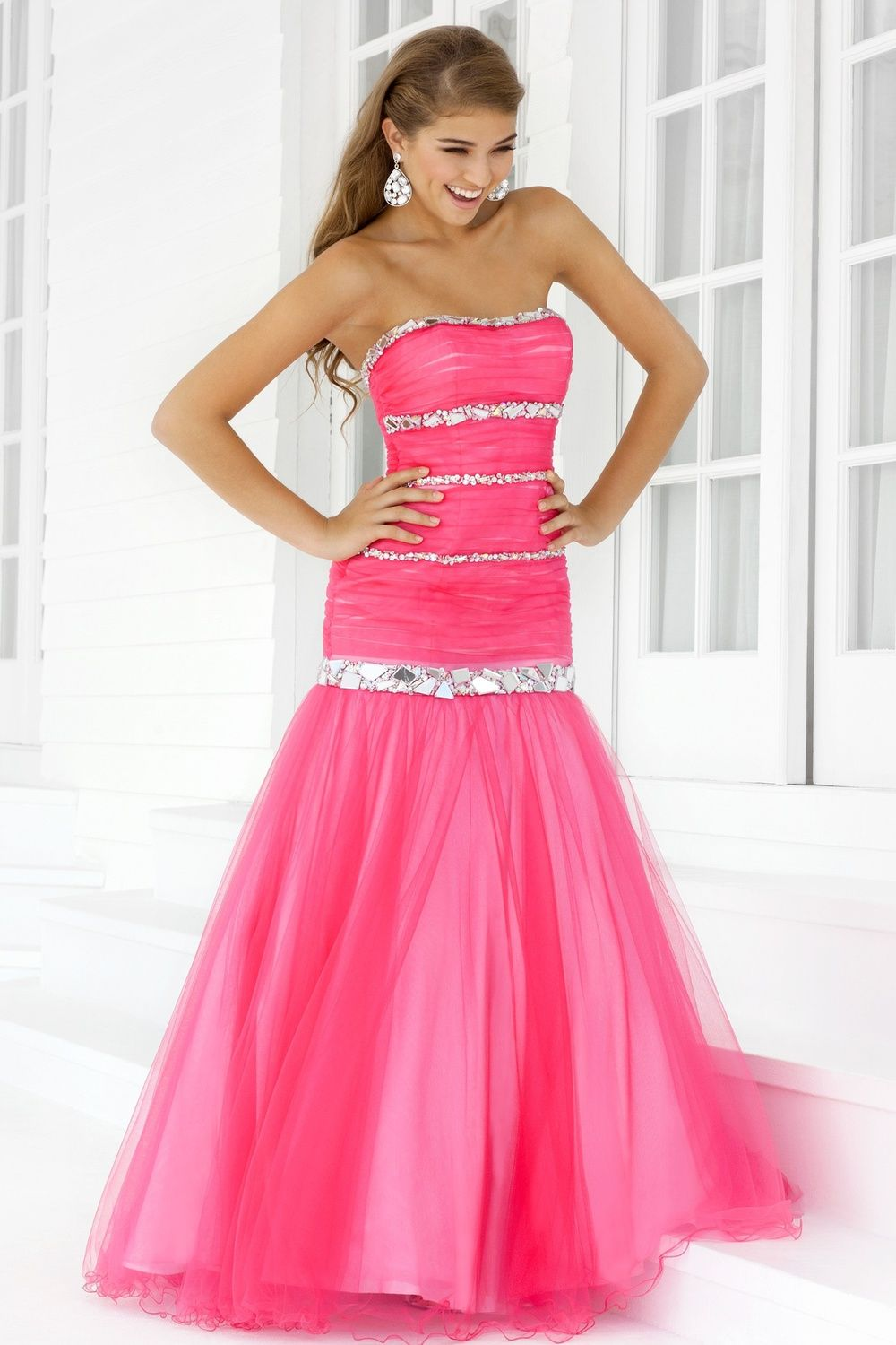 Mermaid pink prom dress ball gown strapless beaded | Prom Dresses ...