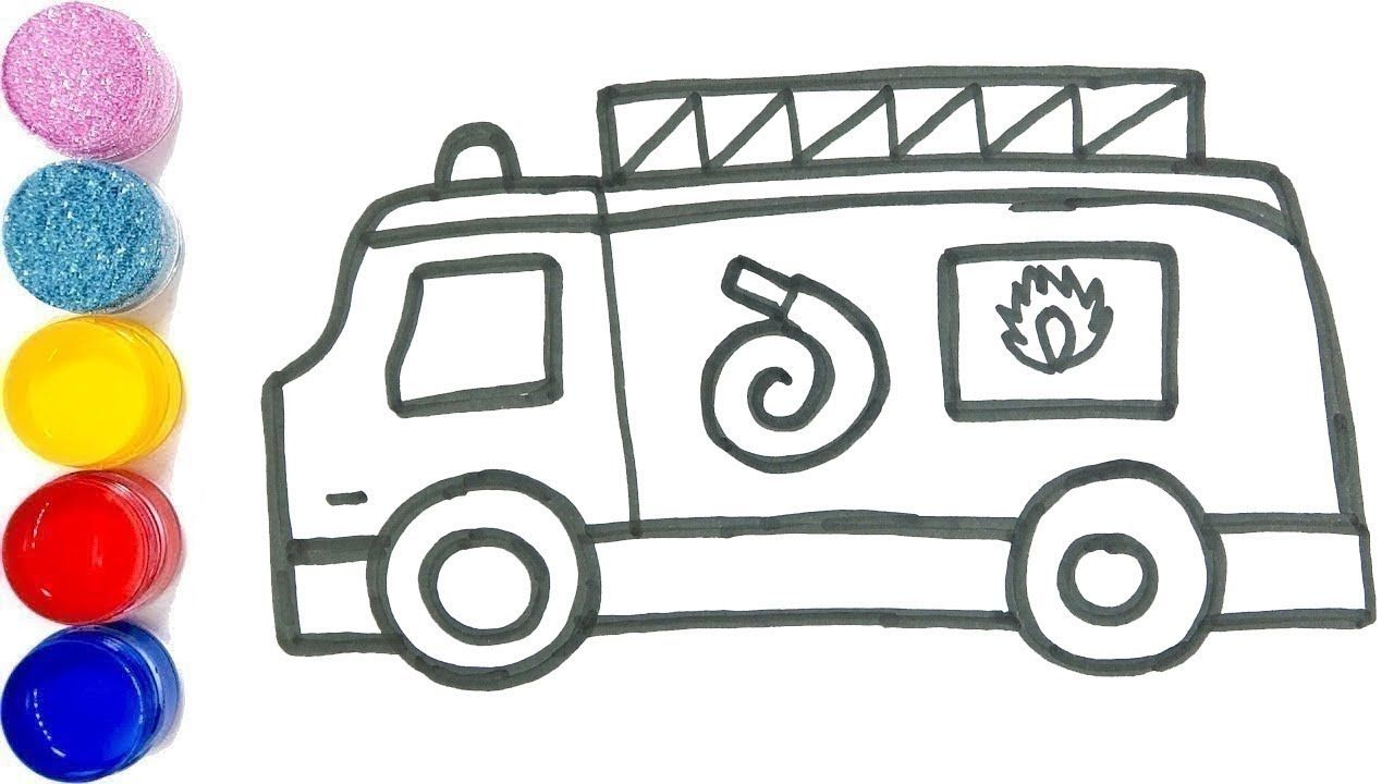 How To Draw And Color Firetruck Learn To Draw And Color Coloring For Kids Drawing For Kids Learn To Draw