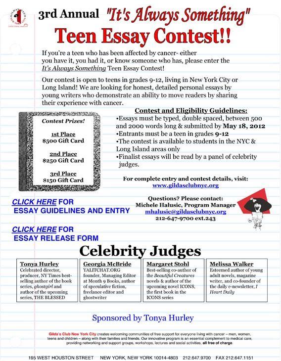 0010 Teen Essay Contest Media Essay contests, Hope you, Cancer