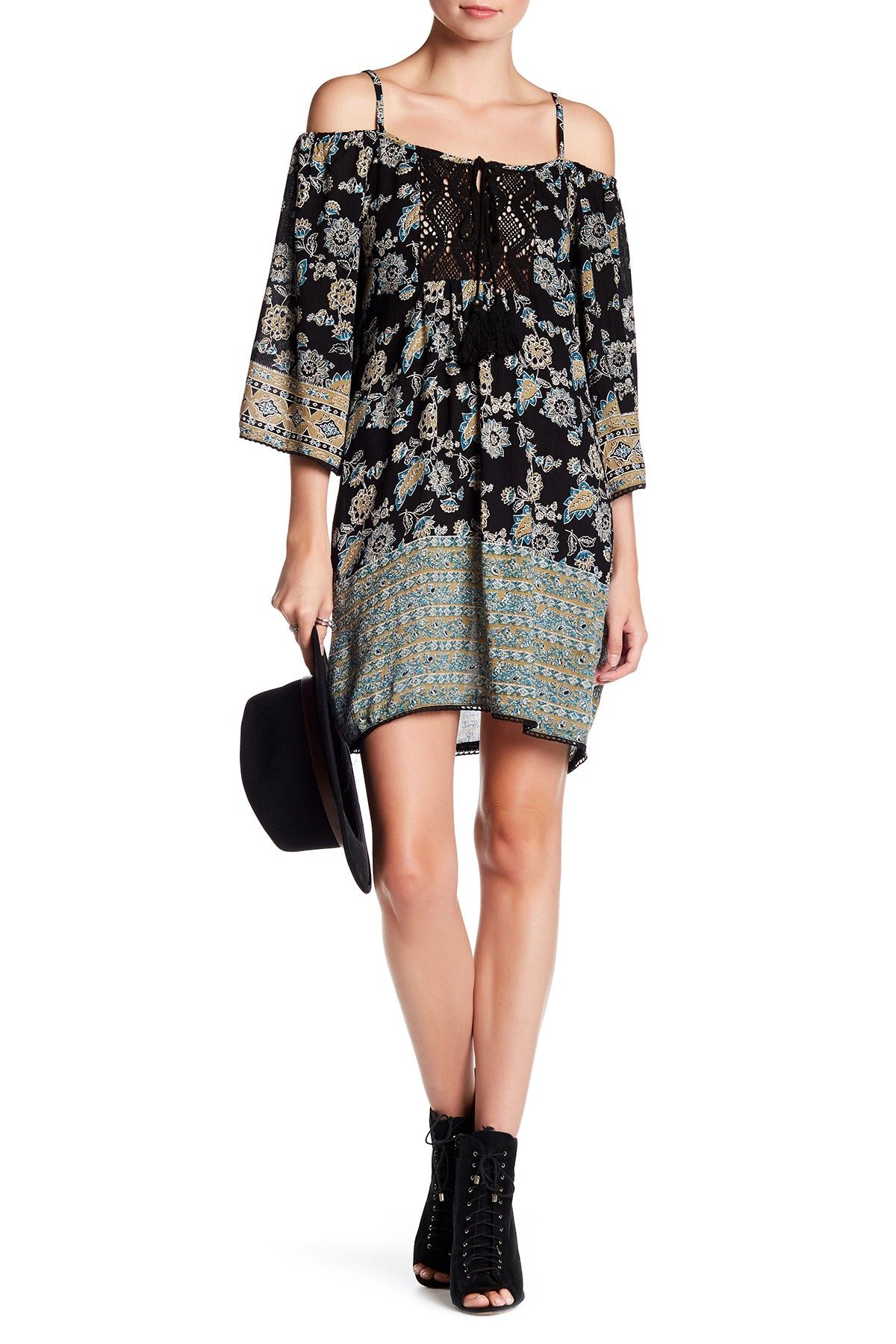 Cold Shoulder Crochet Yoke Dress