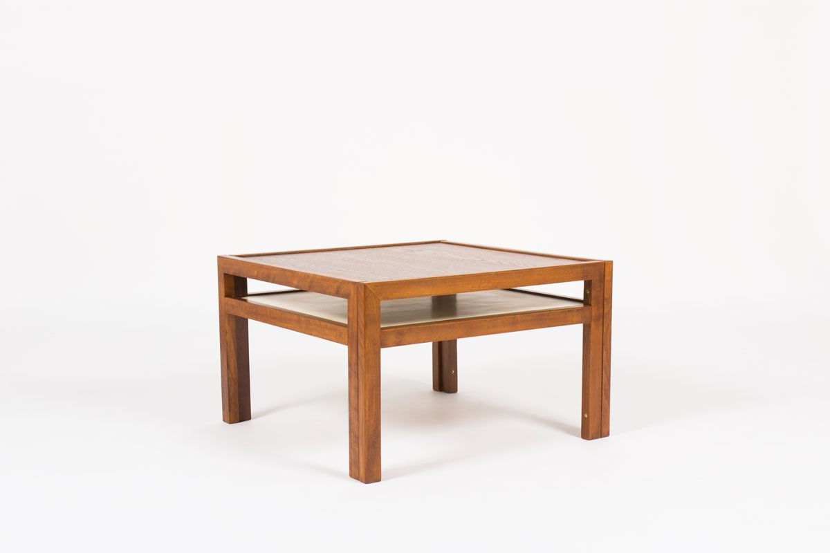 andre sornay square coffee table in beech wood and oak top 1960