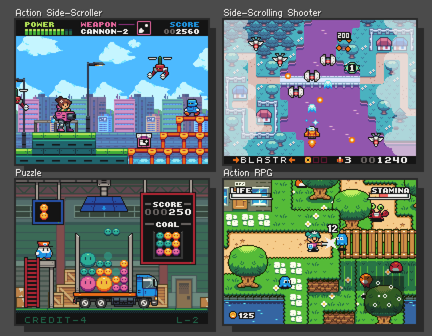 4 Standard Game Mockups Made In A Month Pixel Art Tutorial Pixel Art Pixel Art Games