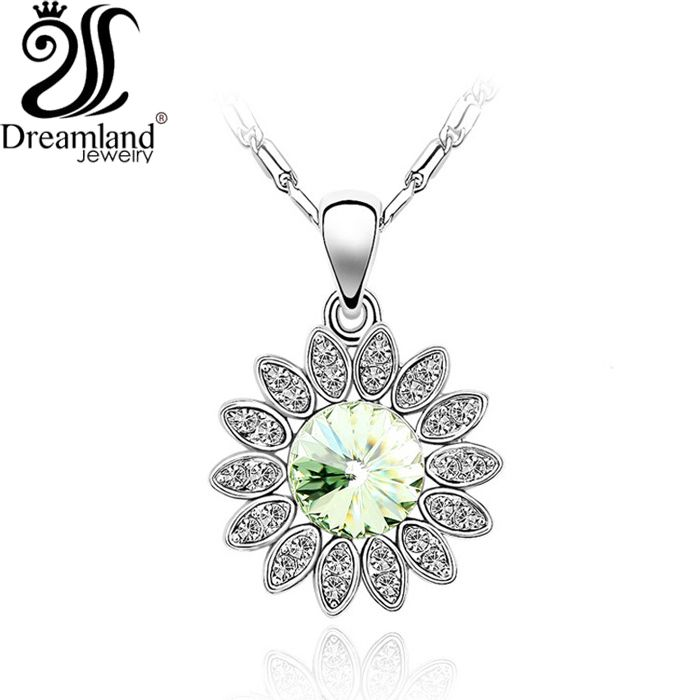 Sunflower jewelry Pendant Necklace Delicate shining crystal platinum plated Necklaces for women Free shipping NE265(China (Mainland))