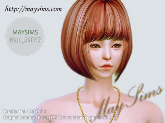 Mayims Sims 4 Hair May_TS4_Hair34F/G the sims 4 cc