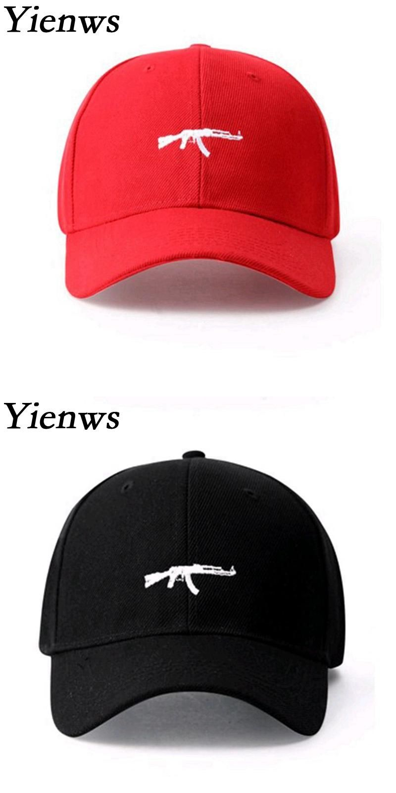 Visit to Buy  Yienws AK47 Gun Baseball Cap For Man Summer Black Red  Baseball 0b5ceb46e345