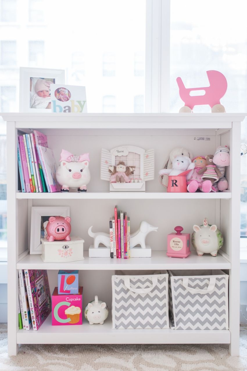 merchandising your baby girl s nursery shelves baby nursery rh pinterest co uk 3 Shelf Bookshelf Nursery Shelving for Books in a Baby Nursery Ideas