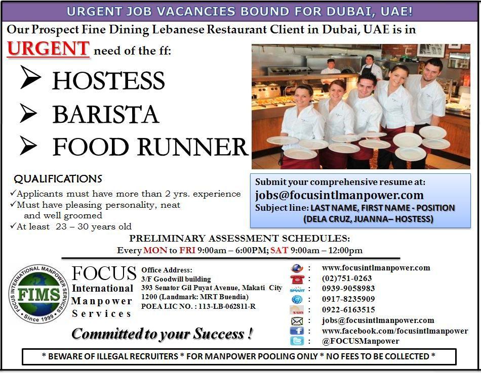 Urgent Vacancies bound for Dubai, UAE u2022Hostess u2022Barista u2022Food - job qualifications