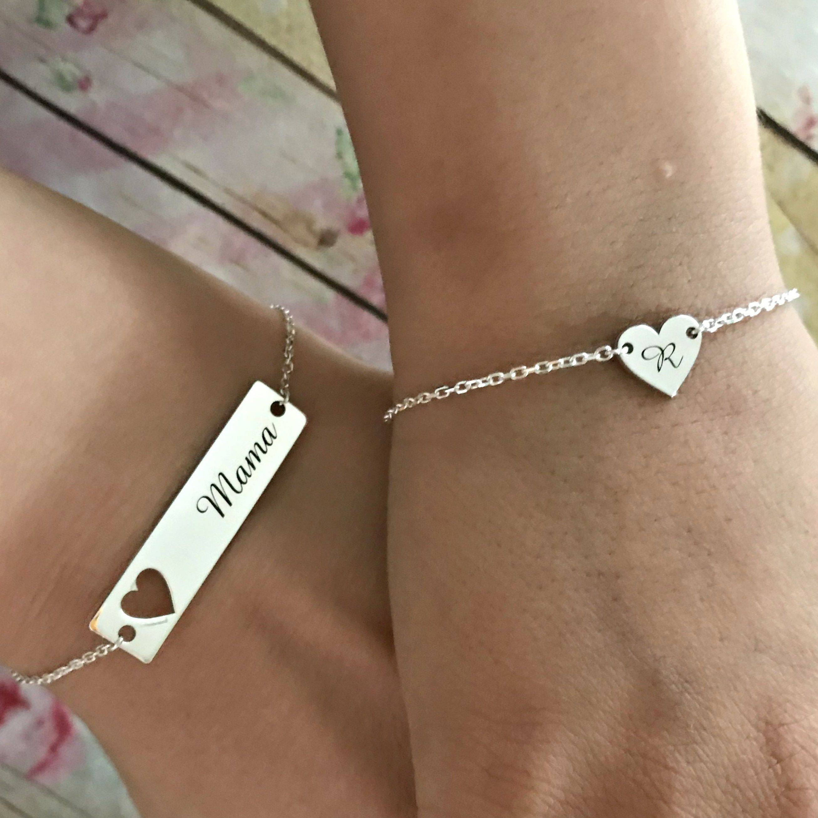Engraved Silver Tag on Charm Bracelet Gifts for Flower Girls or Bridesmaids