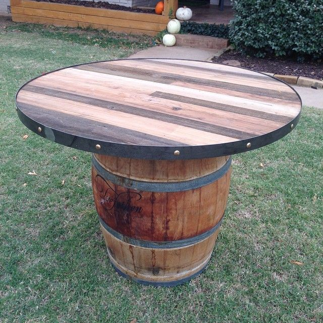 custom wine barrel pub table metal band by joeslack101 jlwoodworx rh pinterest com