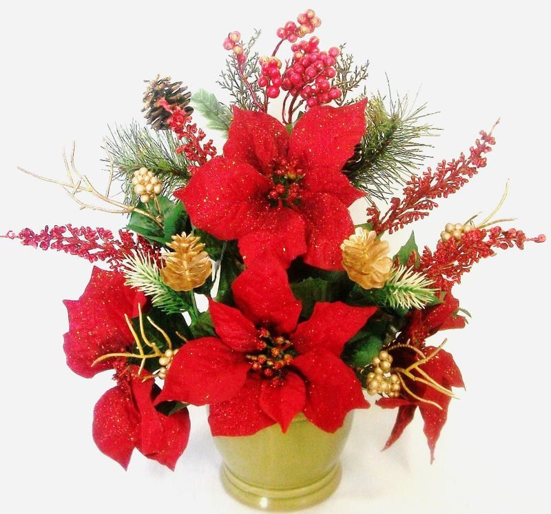 Christmas silk flower floral arrangement poinsettias for Poinsettia arrangements