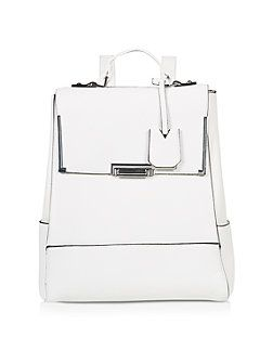 White Flip Lock Backpack  | New Look