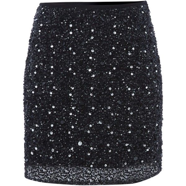 Lace and Beads All Over Sequin Mini Skirt (£55) ❤ liked on Polyvore featuring skirts, mini skirts, black, women, lacy skirt, lace mini skirt, lace miniskirt, short skirts and mini skirt