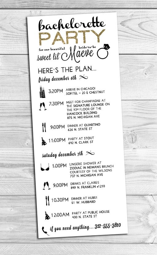 I created this custom bachelorette party itinerary for a for Bridal shower itinerary template