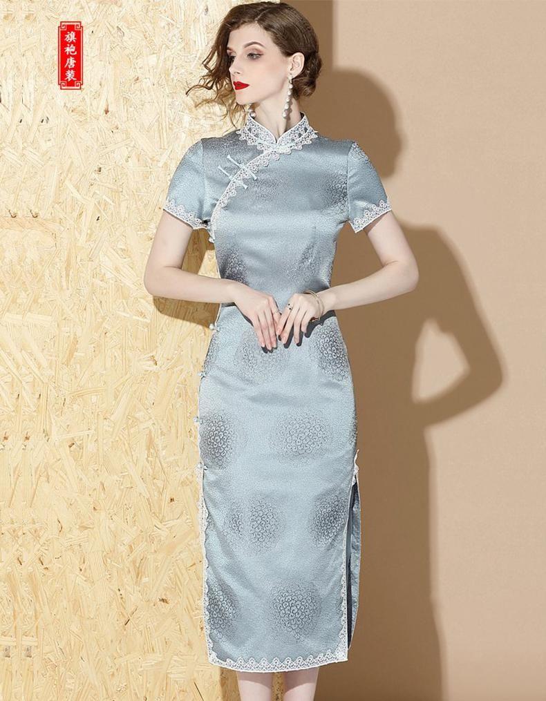 Icy Blue Long Qipao Cheongsam Chinese Dress Cheongsam Dresses Women Dress Online [ 1015 x 790 Pixel ]