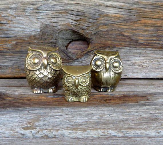 3 vintage brass owls 1 3 tall 3 1 2 across the