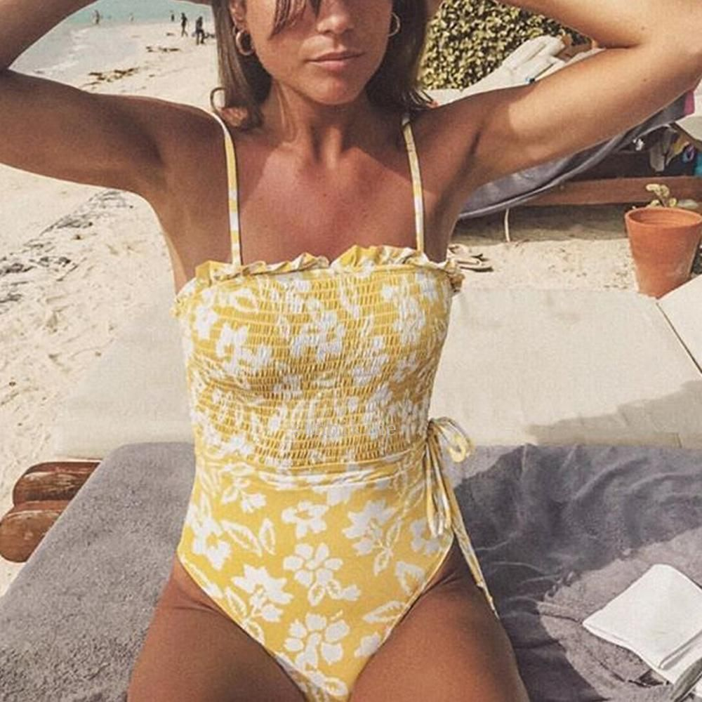 Sexy Bikini Fresh Printed Bandeau Sling One-piece Swimsuit