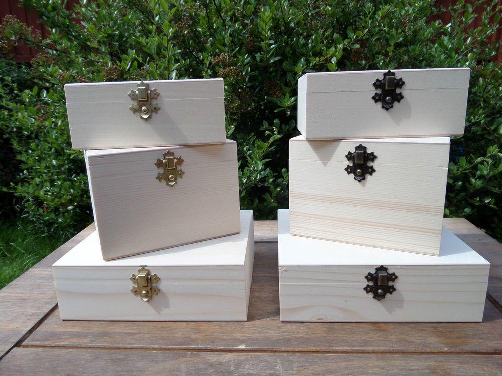 New Wooden Jewellery/ Trinket Box - Plain Wood- Decoupage HandCraft in Jewellery & Watches, Jewellery Boxes & Supplies, Jewellery Boxes | eBay