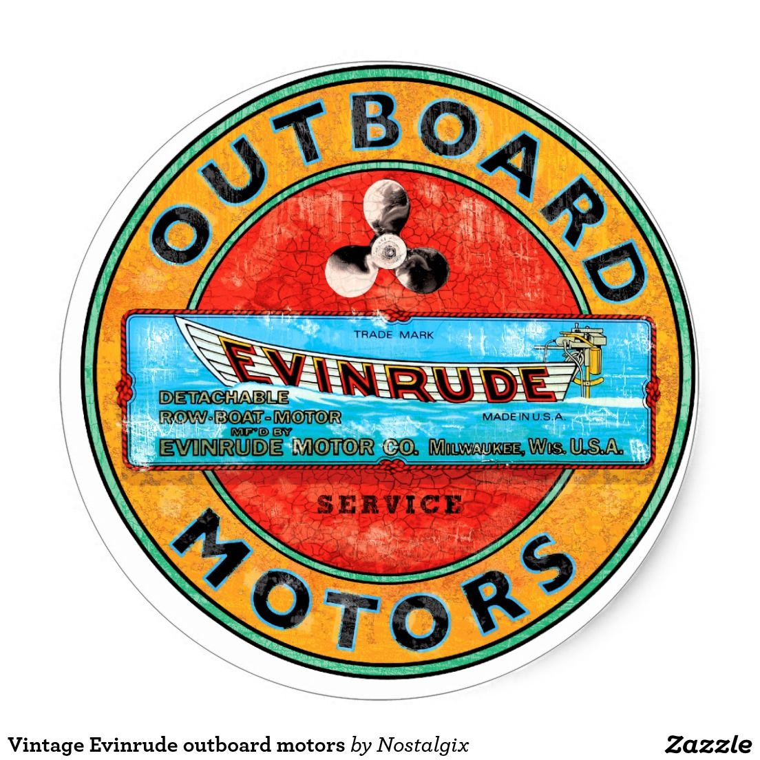 Vintage Evinrude Outboard Motors Classic Round Sticker Outboard Motors Outboard Boat Signs