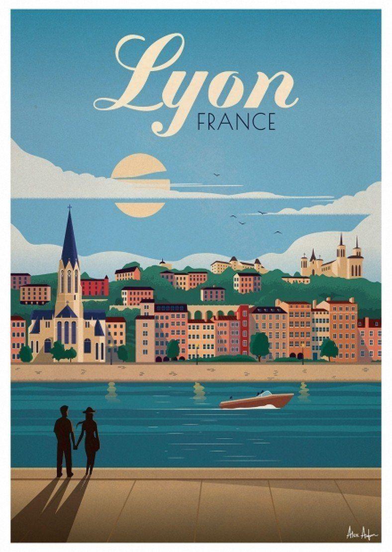 Affiche vintage 50 x 70 cm Lyon - Sergeant Paper