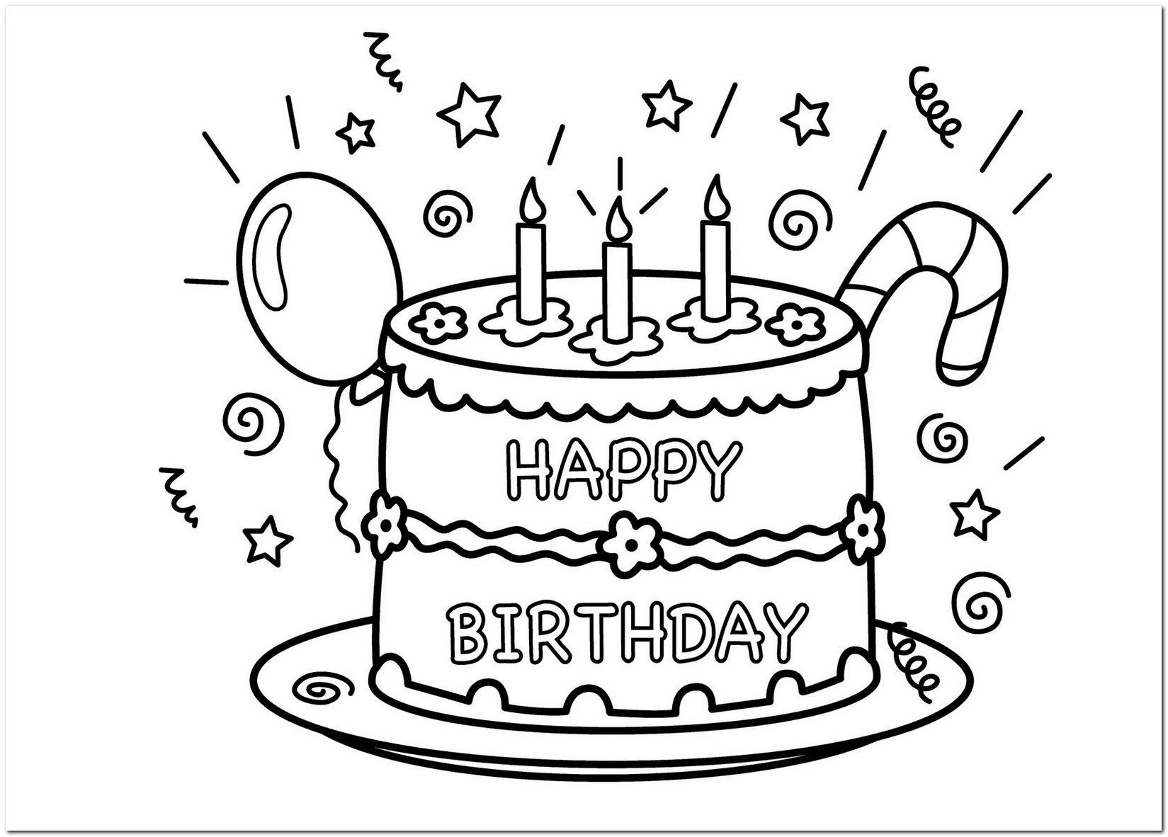 Coloring Page Birthday Cake Full Happy Birthday Coloring Pages Birthday Coloring Pages Happy Birthday Printable