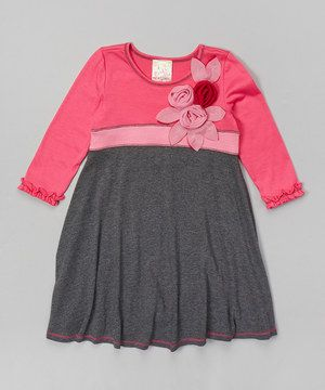 Another great find on #zulily! Pink Vanilla Charcoal & Pink Babydoll Dress - Toddler & Girls by Pink Vanilla #zulilyfinds