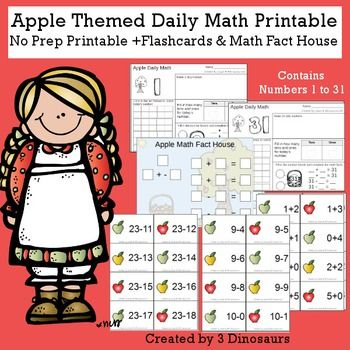 apple themed daily math 3 dinosaurs products daily math math rh pinterest com