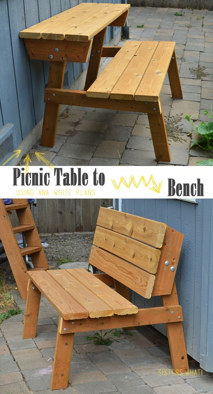 Turn A Picnic Table To Bench Using Ana White Plans Woodworking Bench Plans Woodworking Bench Easy Woodworking Projects