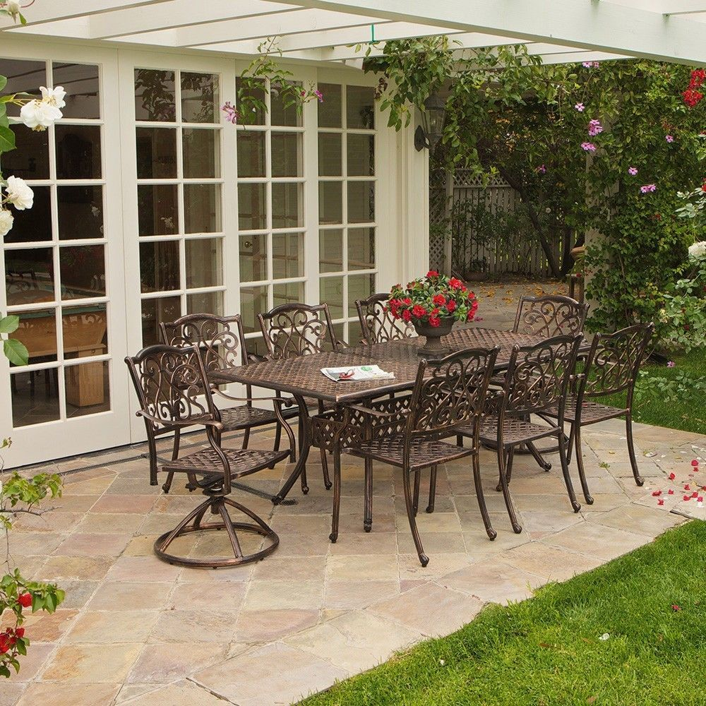 9 Pc Cast Aluminum Patio Dining Set Outdoor Garden Lawn Yard Deck Furniture
