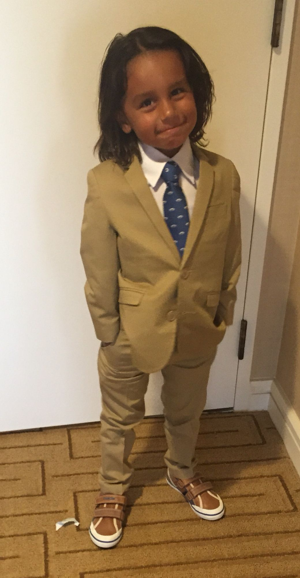 Adorable suit and tie for my 4-year-old grandson ordered via AMAZON!