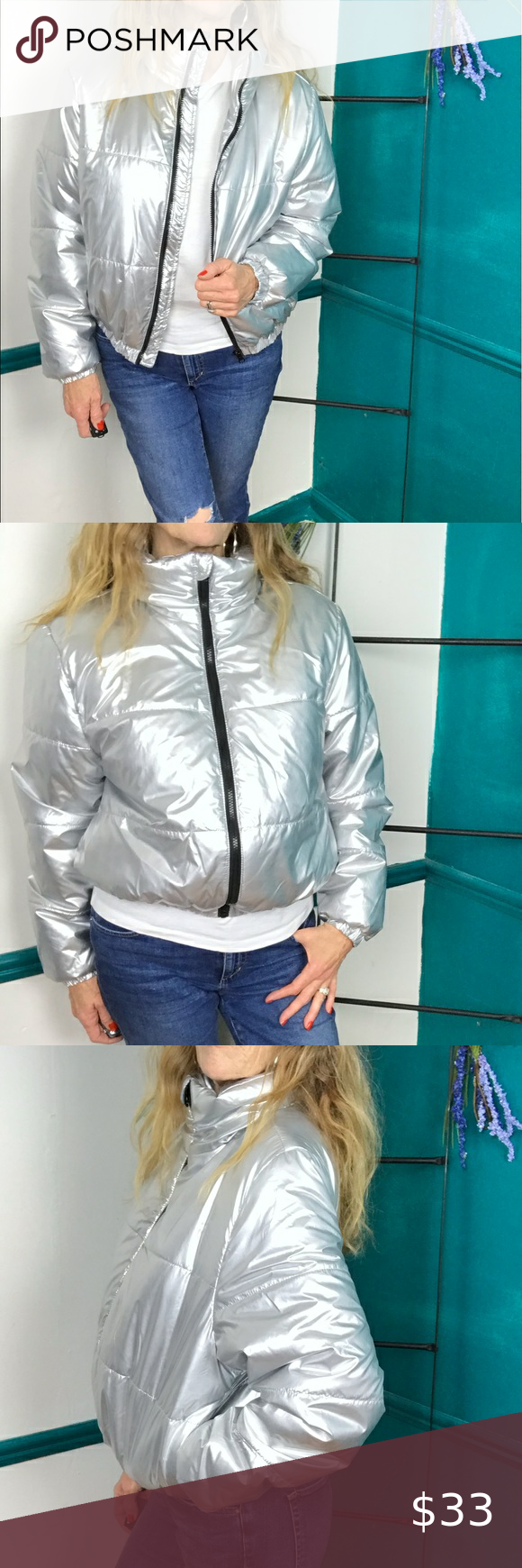 Wild Fable Silver Puffer Jacket With High Zip Neck Silver Puffer Jacket Jackets Puffer Jackets [ 1740 x 580 Pixel ]