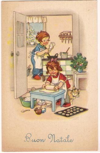 cartolina natalizia con bambine cartoline d 39 epoca. Black Bedroom Furniture Sets. Home Design Ideas