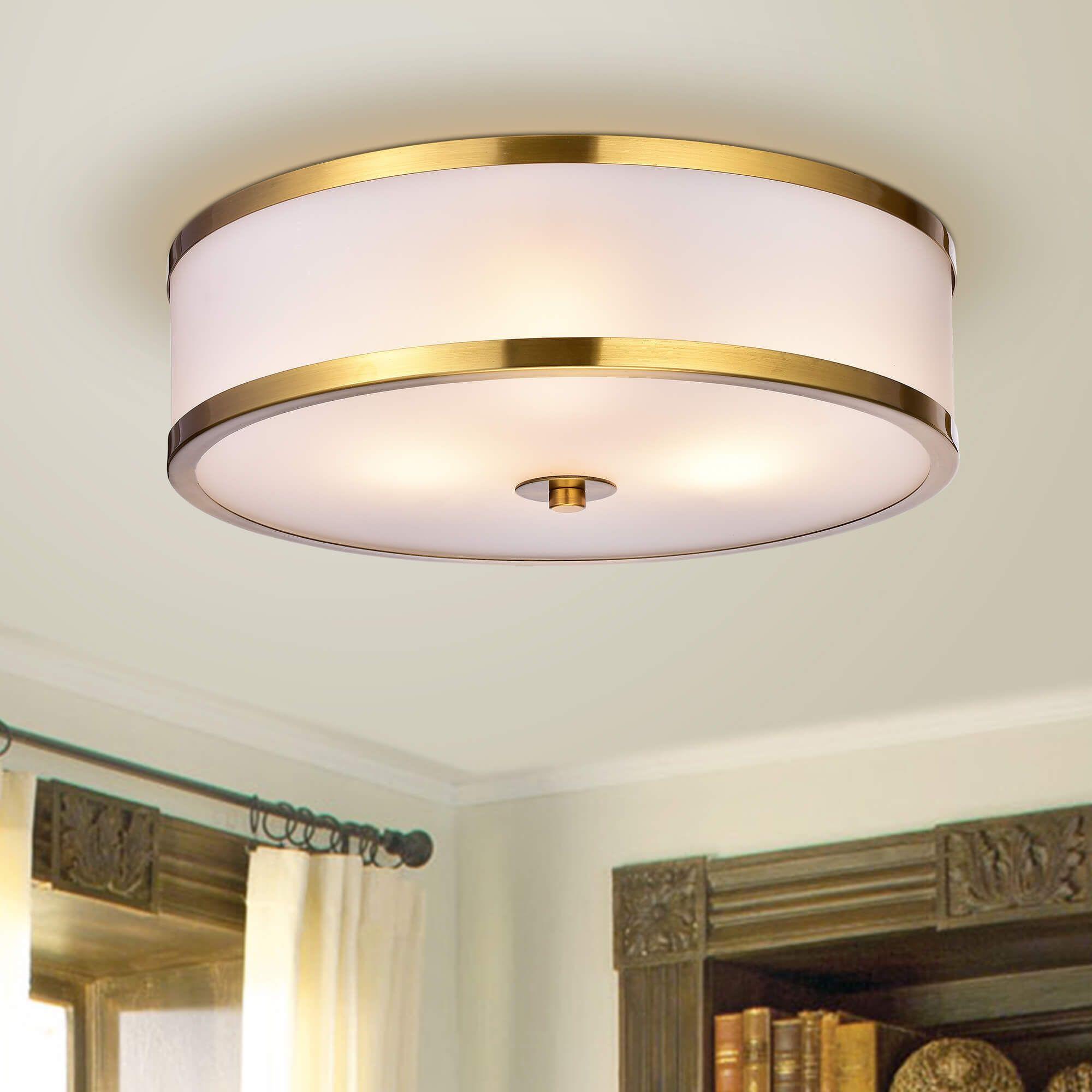 shop blanca metallic gold with glass drum shade 3 light flush mount rh pinterest com