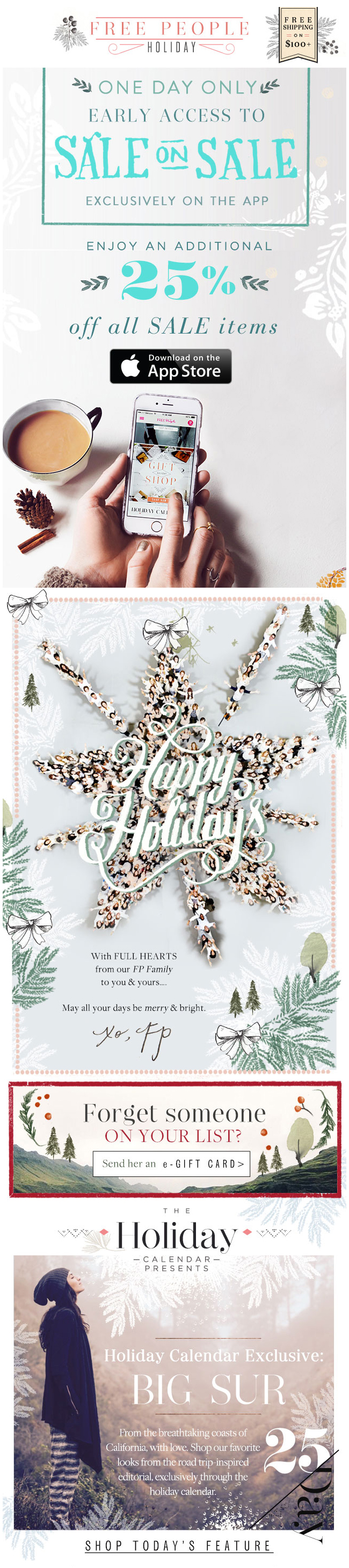 Free People  Holiday Letter  App  Email Design  Inspiration