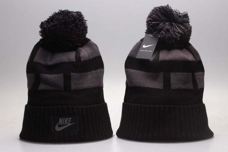 Men s   Women s Nike Blocks Throughout Nike Air Logo Patch Swen Cuff Knit  Pom Pom Beanie Hat - Black 04bf70dab6cc