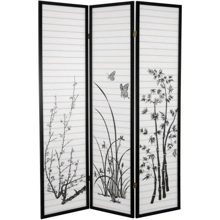 6 tall bamboo and blossoms room divider black products rh pinterest com