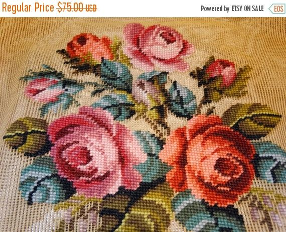Valentines Day Sale Bucilla Floral Rose Needlepoint, Pre-Worked, Seat Cover, Needlepoint, Wonder Weave, Antique Canvas, 100% Wool, #21285, P
