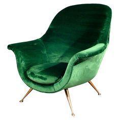 Elegant Armchair In Emerald Green Velvet 1950s